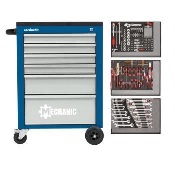 Werkstattwagen MECHANIC blau + 2250.3802 Werkzeugs atz 132-tlg