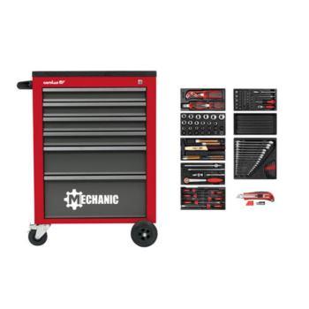 Werkstattwagen MECHANIC rot + 2250.3802 Werkzeugsa tz 132-tlg
