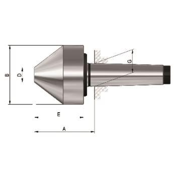 Mitlaufender Zentrierkegel, Aufnahme MK 3, Größe 172a, stumpf, 75°