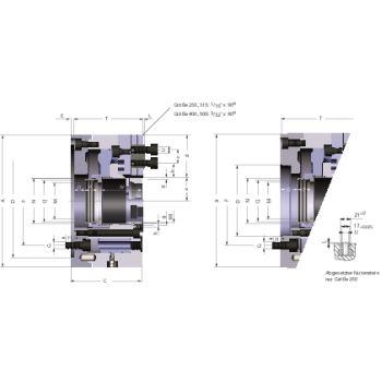 Kraftspannfutter KFD-HS 250, 3-Backen, Spitzverzahnung 90°, ISO 702-I