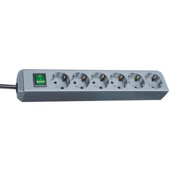 Eco-Line Steckdosenleiste mit Schalter 6-fach silb