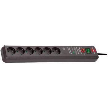 Secure-Tec 19.500A Überspannungsschutz-Steckdosenleiste akustik 6-fach anthrazit 3m H05VV-F 3G1,5
