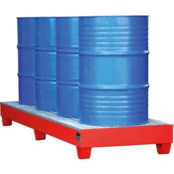 Stahl-Auffangwanne RAL 3000 für 4 Fässer mit 200 L