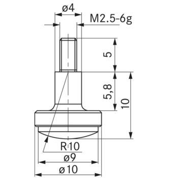 Messeinsatz Typ 12 HM gewölbt, Durchmesser 10 mm,
