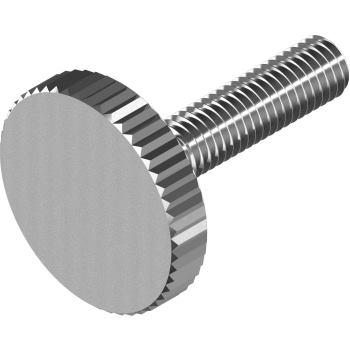 Flache Rändelschrauben DIN 653 - Edelstahl A1 M 5x16, niedrige Form
