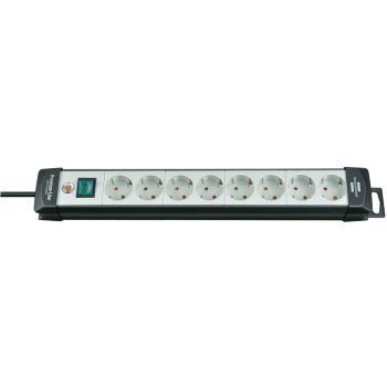 Premium-Line Steckdosenleiste 8-fach schwarz/licht