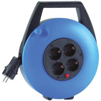 Kabelbox blau, mit 10m PVC-Leitung, schwarz