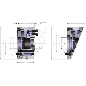 Kraftspannfutter KFD-HS 400, 3-Backen, Spitzverzahnung 90°, Zylindrische Zentrieraufnahme