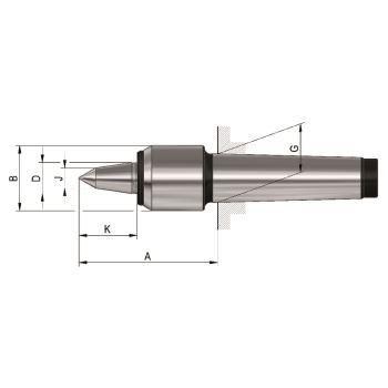 Mitlaufende Zentrierspitzen 60°, MK 3, Größe 04, mit verlängerter Laufspitze