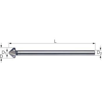 Kegelsenker 3-schneidig 90 Grad 15,0 mm mit 100 mm Schaft HSS