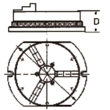 Dreibackenkranzspannfutter KRF 160 mm mit Gru