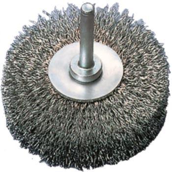 Rundbürste Durchmesser 30 mm, Schaft 6 mm Gewellte r V2A Draht 0,20 mm