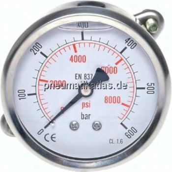 Glycerin-Einbaumanometer, 3kt- Frontring, 63mm, 0- 0,6 bar