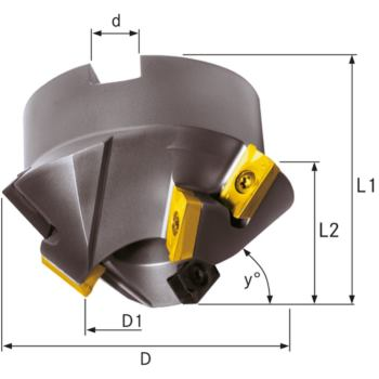 Wendeschneidplatten-Fasenfräser 45 Grad 3 Zähne 75 mm für 6 WSP APKT 1604