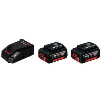 Akku Starter-Set 2 x GBA 18 Volt, 5,0 Ah, M-C + AL 1860 CV