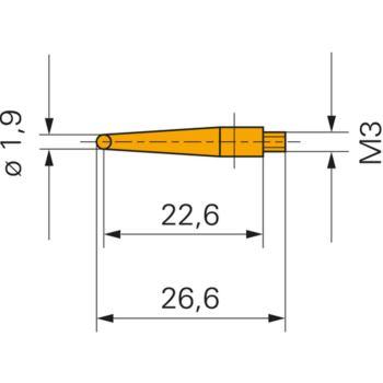 Messeinsatz mit Stahlkugel 1,9 mm Gewinde M3