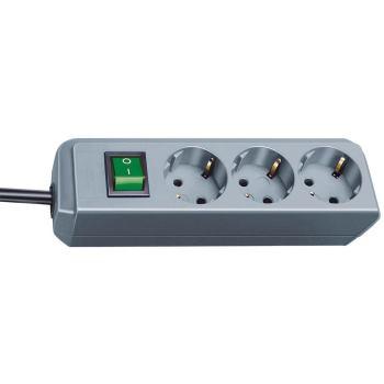 Eco-Line Steckdosenleiste mit Schalter 3-fach silb