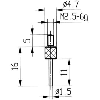 Messeinsatz Typ 14 30 mm Stiftlänge Durchmesser 1,