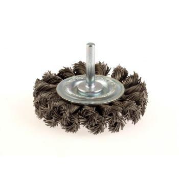 Zopf-Rundbürsten mit 6 mm Schaft Drm 75 x 16 mm 18 Z x 2 mit Blume rechts gezopft Stahldraht