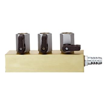 Verteilblock mit 3 Kugelhähnen und Haftmagnet.