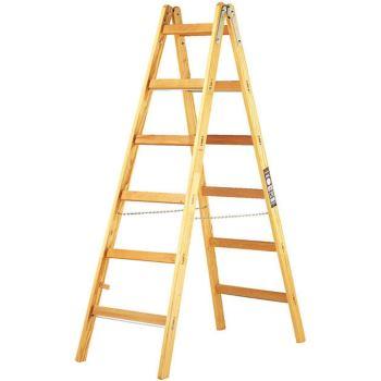 Holz-Stehleiter 2x6 Sprossen Höhe Stehleiter 1,58m