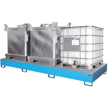 Stahl-Auffangwanne für 3x IBC LxBxH 3850x1300x340