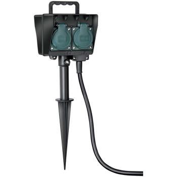 Gartensteckdose mit Erdspieß IP44 4-fach 10m H07RN-F 3G1,5