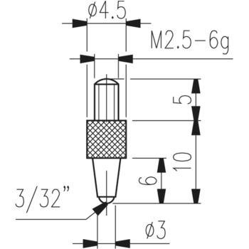 Messeinsatz Typ 21 kugelig, für Tiefenmessgeräte