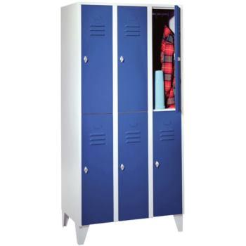 Kleider-Schließfachschrank mit Füßen, 3 Abteile, 6