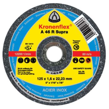 Trennscheibe INOX, SUPRA, A 46 R, gerade, Abm.: 125x1,6x22,23 mm
