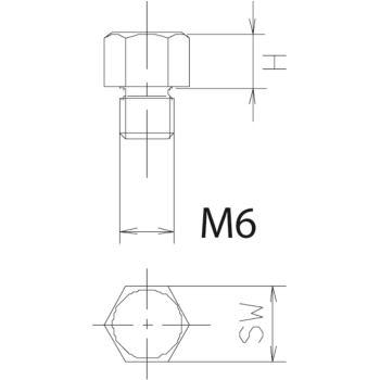 AUFLAGEBOLZEN M 6X 5 HOCH