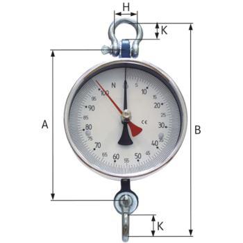 Zeiger-Dynamometer Nr. 25 Messbereich 0 - 1 kN mit