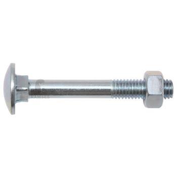 Flachrundschrauben DIN 603 - Stahl verzinkt mit Muttern M6x50 100 St.