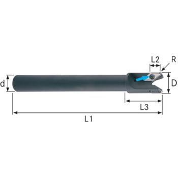 Schaftfräser für VPGT160412 25 mm Schaft D=20 mm Z =2