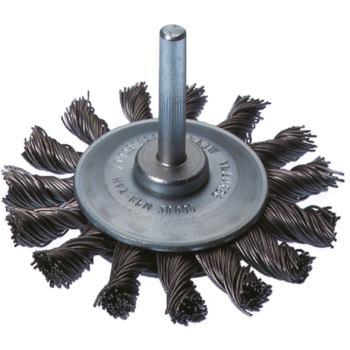 Rundbürste Durchmesser 70 mm, Schaft 6 mm Gezopfte r Stahldraht 0,50 mm