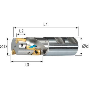 Schaftfräser 90 Grad mit Innenkühlung 40 mm Z=2 Sc haft D 32 mm DIN 1835B