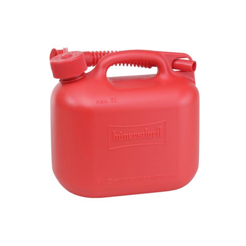 Kraftstoff-Kanister STANDARD 5 L HD-PE rot mit UN-Zulassung und rotem Zubehör