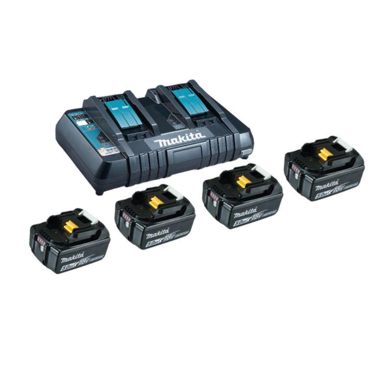 18V Akku + Doppelladegerät Power Source Kit | 4x Akku 5,0Ah