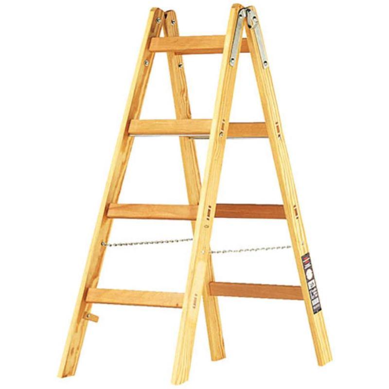 Holz-Stehleiter 2x4 Sprossen Höhe Stehleiter 1.2m