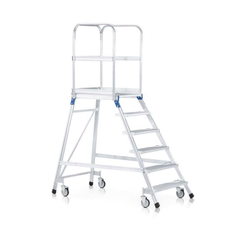 Podesttreppe fahrbar Z 600 einseitig begehbar mitLeichtmetall-Stufen | 41976