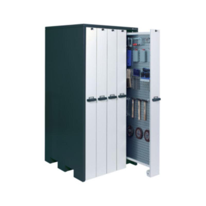 Vertikalschrank HxBxT 2140x1040x1050mm mit 5 Lochblechwänden RAL 7016/9002