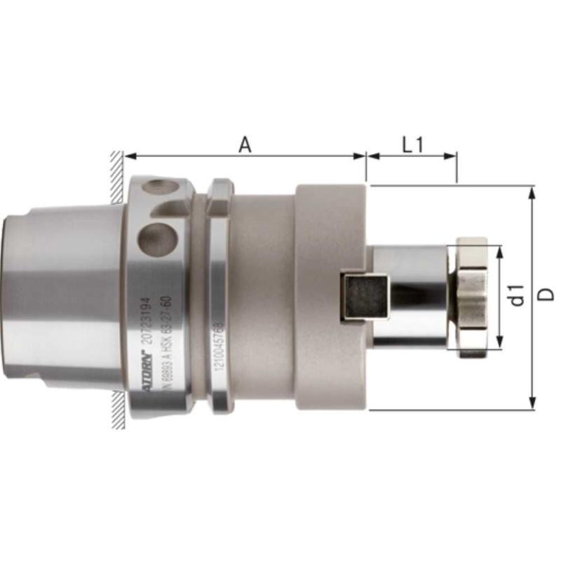 Aufsteckfräserdorn lang HSK 63-A Durchm.27 mm DIN 69893-1fester Mitnehmer
