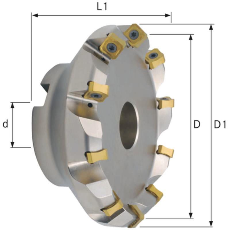 Planfräser 45 Grad mit Innenkühlung Durchmesser 125 mm Z=10