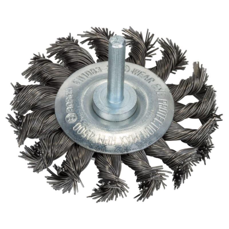 Scheibenbürste, Stahl, gezopfter Draht, 0,5 mm, 75
