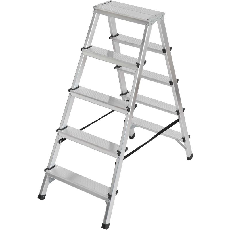 Doppelstufenleiter Aluminium 2x5 Stufen Höhe Stehleiter 1.04m