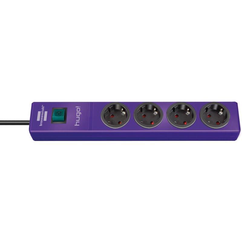 hugo! Steckdosenleiste 4-fach violett 2m H05VV-F3G