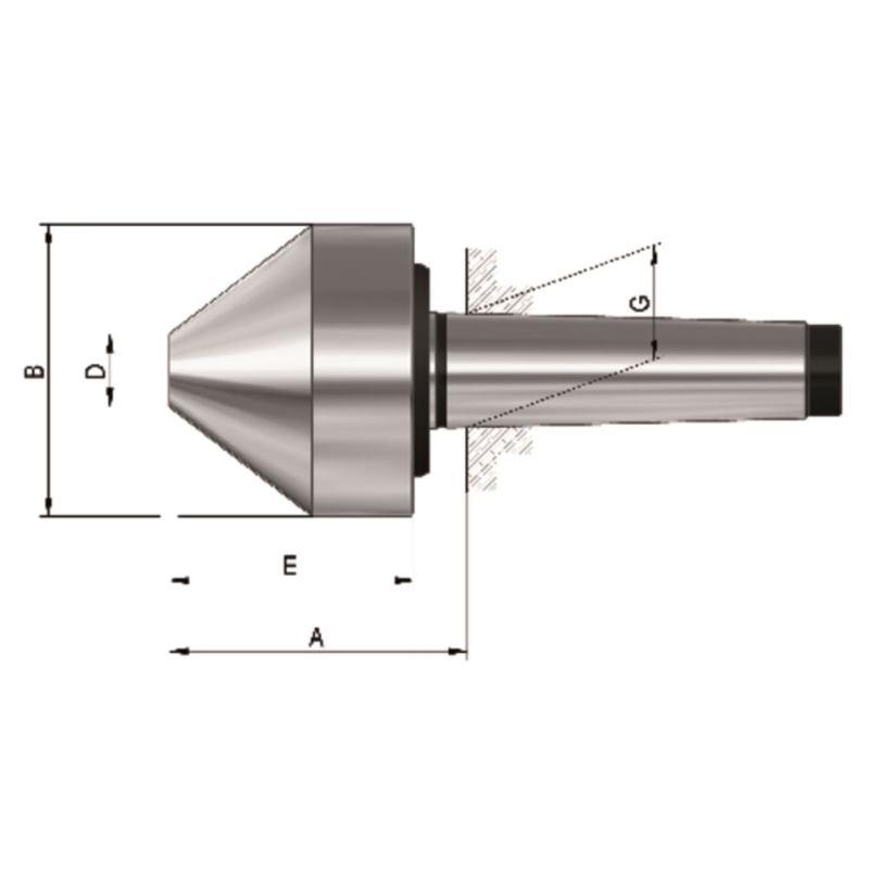Mitlaufender Zentrierkegel, Aufnahme MK 6, Größe 174b, stumpf, 75°