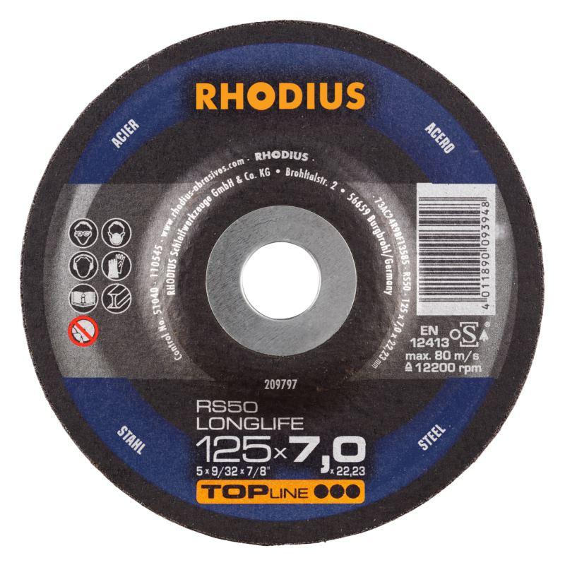 Schruppscheibe RS50 LONGLIFE   Ø 125 x 7,0 x 22,23mm Form 27