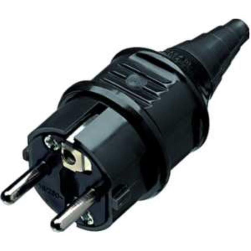 10754 Stecker SCHUKO 16A2p+E230V schwarz