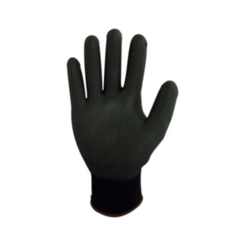 Feinstrick-Handschuh grau Größe 8 beschichtet mit Polyuretan schwarz